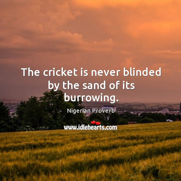 Image, The cricket is never blinded by the sand of its burrowing.
