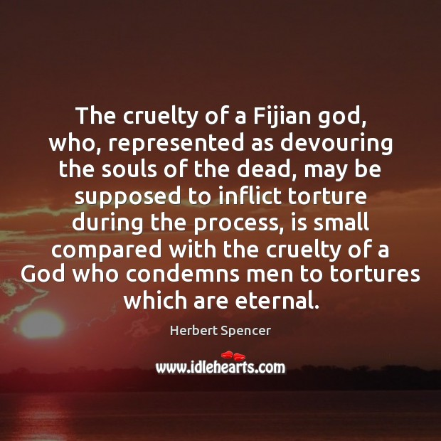 The cruelty of a Fijian God, who, represented as devouring the souls Image