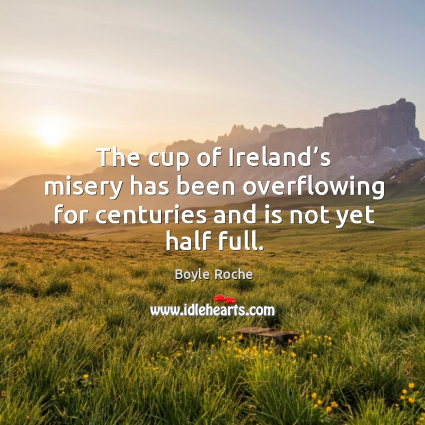 The cup of ireland's misery has been overflowing for centuries and is not yet half full. Image