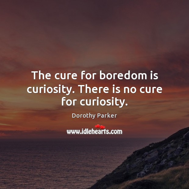 The cure for boredom is curiosity. There is no cure for curiosity. Dorothy Parker Picture Quote