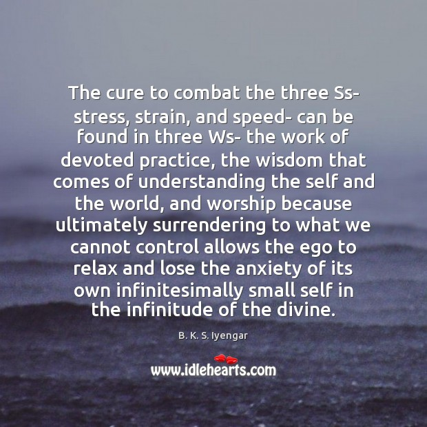 The cure to combat the three Ss- stress, strain, and speed- can Image