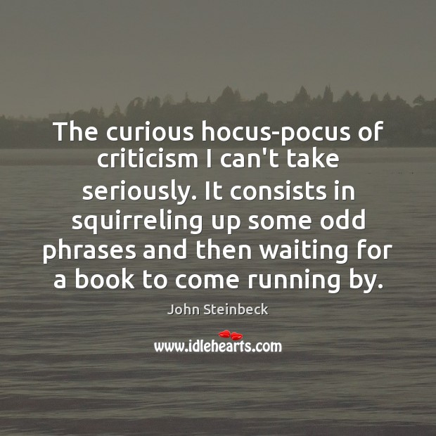 Image, The curious hocus-pocus of criticism I can't take seriously. It consists in