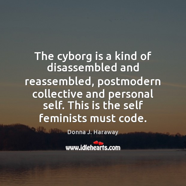 The cyborg is a kind of disassembled and reassembled, postmodern collective and Donna J. Haraway Picture Quote