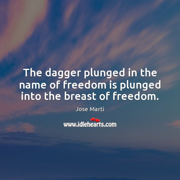 The dagger plunged in the name of freedom is plunged into the breast of freedom. Freedom Quotes Image