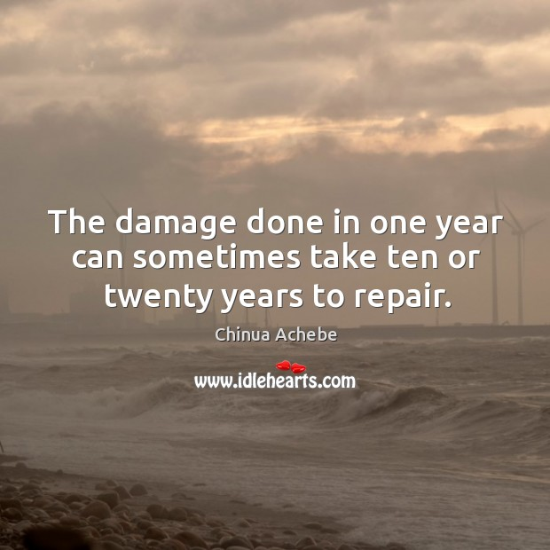 The damage done in one year can sometimes take ten or twenty years to repair. Image