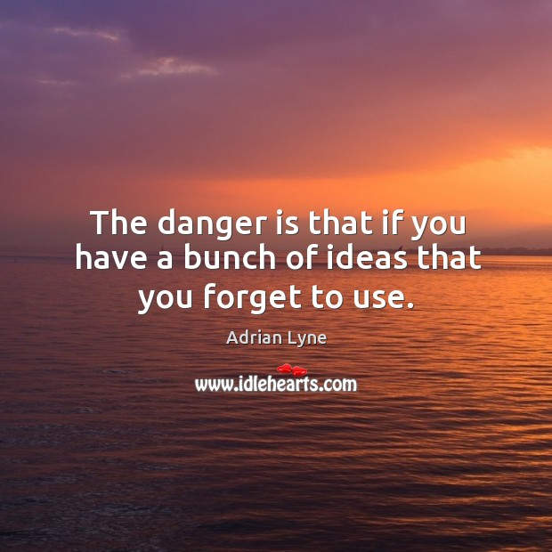 Image, The danger is that if you have a bunch of ideas that you forget to use.