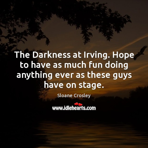 The Darkness at Irving. Hope to have as much fun doing anything Sloane Crosley Picture Quote