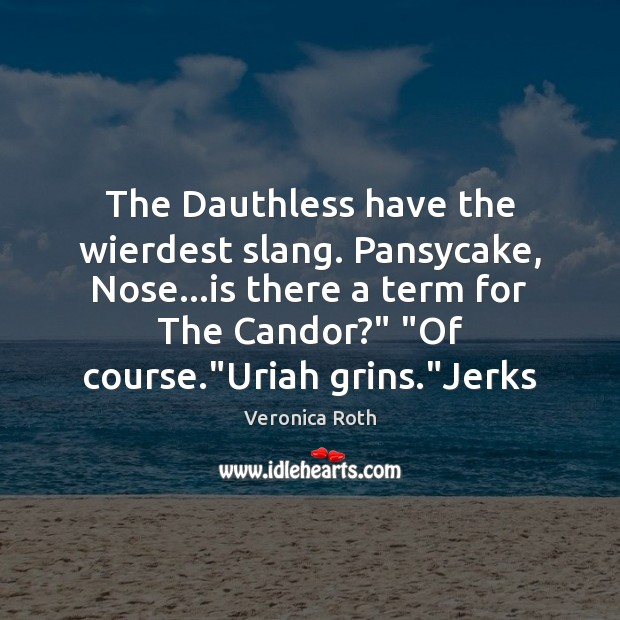 The Dauthless have the wierdest slang. Pansycake, Nose…is there a term Veronica Roth Picture Quote