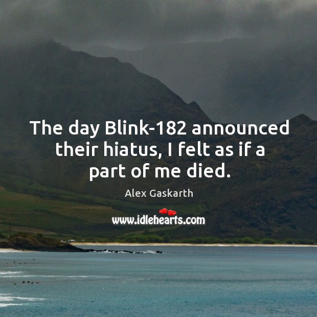 The day Blink-182 announced their hiatus, I felt as if a part of me died. Image
