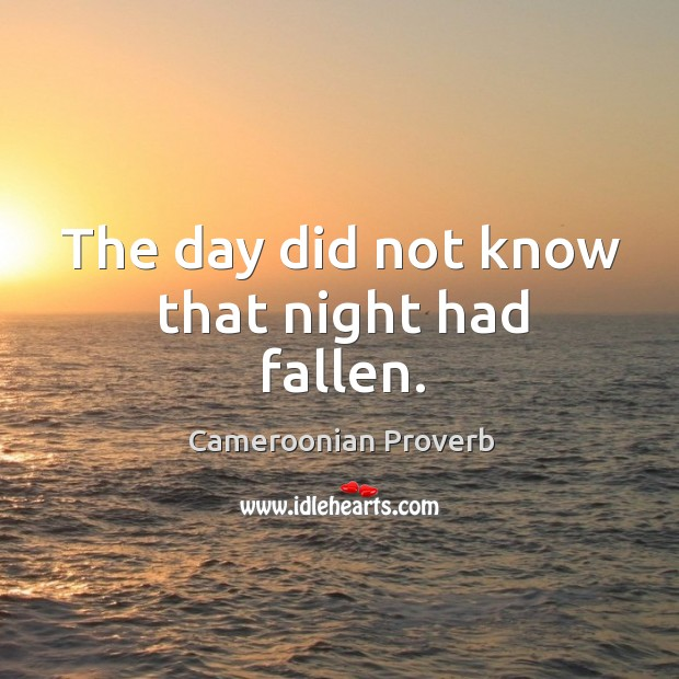 The day did not know that night had fallen. Cameroonian Proverbs Image