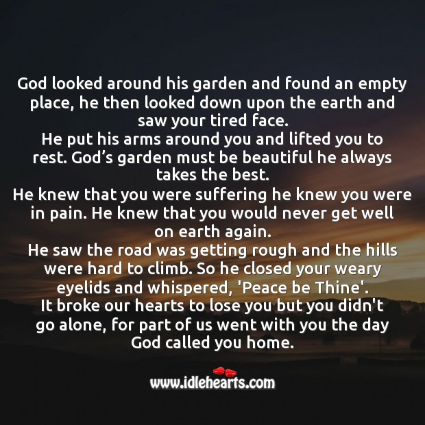 The day God called you home. Missing You Quotes Image