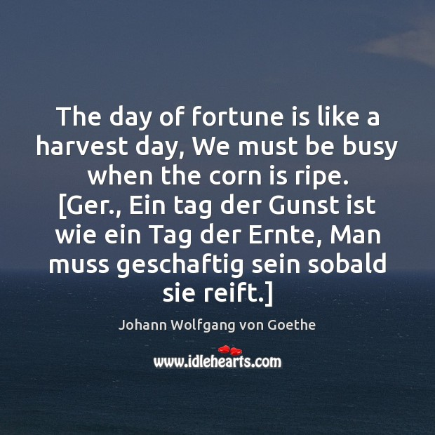 The day of fortune is like a harvest day, We must be Johann Wolfgang von Goethe Picture Quote