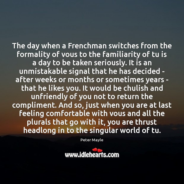 The day when a Frenchman switches from the formality of vous to Image