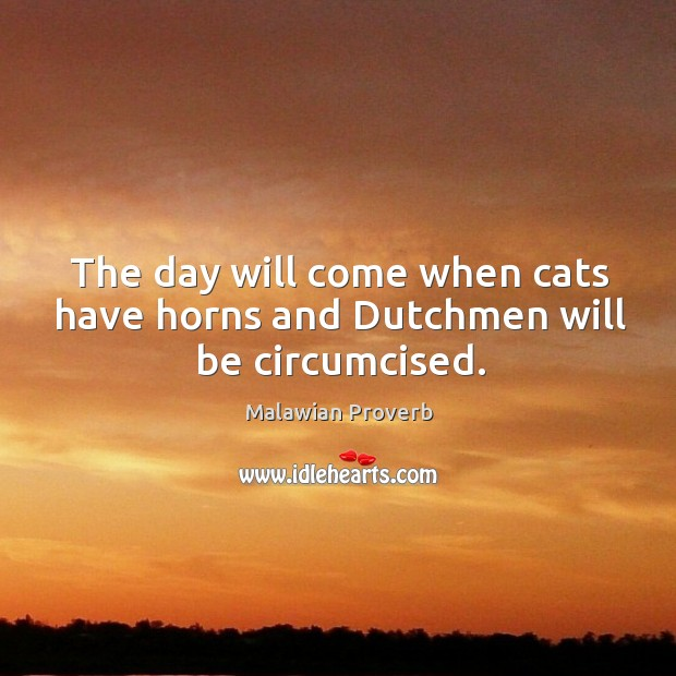 The day will come when cats have horns and dutchmen will be circumcised. Malawian Proverbs Image