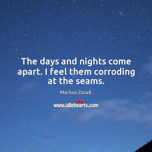 The days and nights come apart. I feel them corroding at the seams. Image