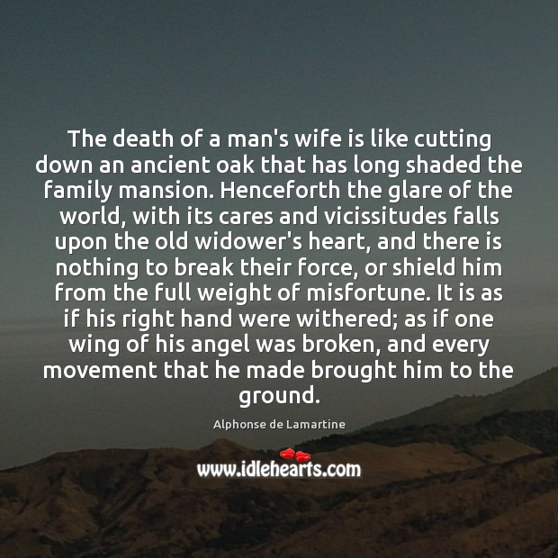 The death of a man's wife is like cutting down an ancient Image