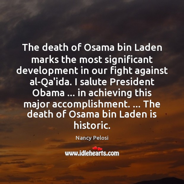 The death of Osama bin Laden marks the most significant development in Image