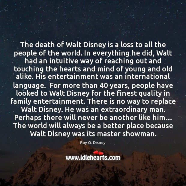 The death of Walt Disney is a loss to all the people Image