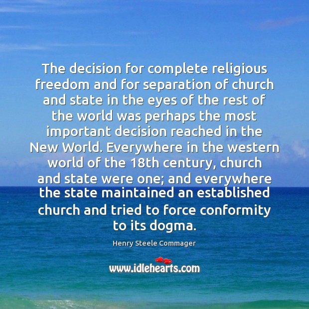Image, The decision for complete religious freedom and for separation of church and