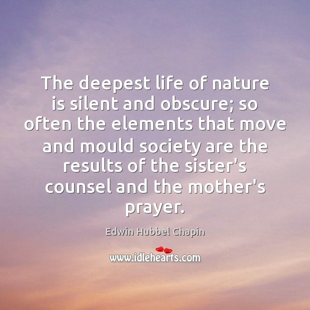 The deepest life of nature is silent and obscure; so often the Image
