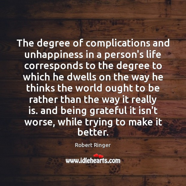 The degree of complications and unhappiness in a person's life corresponds to Image