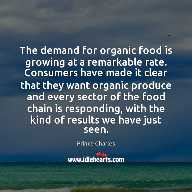 The demand for organic food is growing at a remarkable rate. Consumers Prince Charles Picture Quote