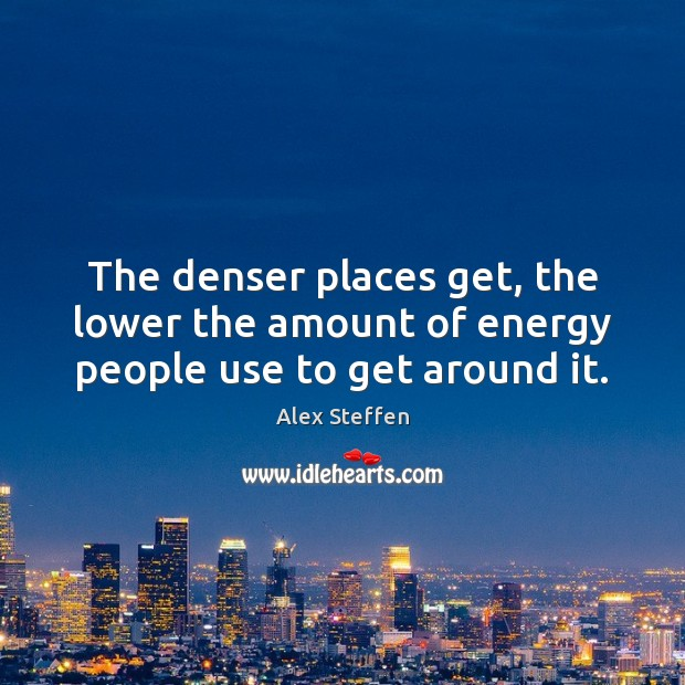 The denser places get, the lower the amount of energy people use to get around it. Image