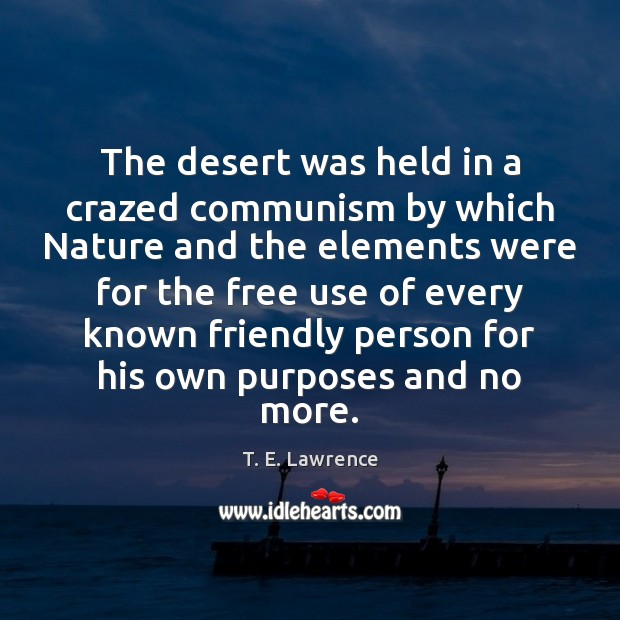 The desert was held in a crazed communism by which Nature and Image