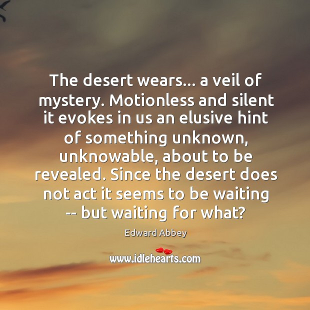 The desert wears… a veil of mystery. Motionless and silent it evokes Image