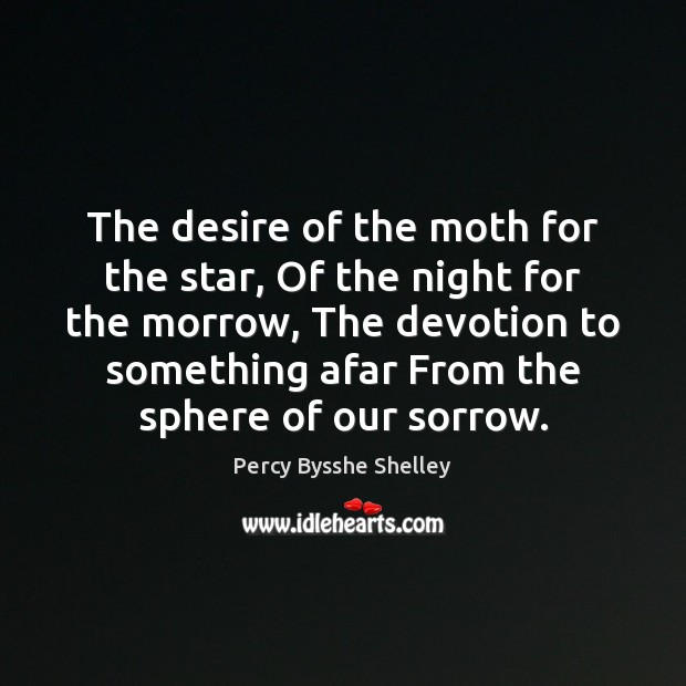 The desire of the moth for the star, Of the night for Percy Bysshe Shelley Picture Quote
