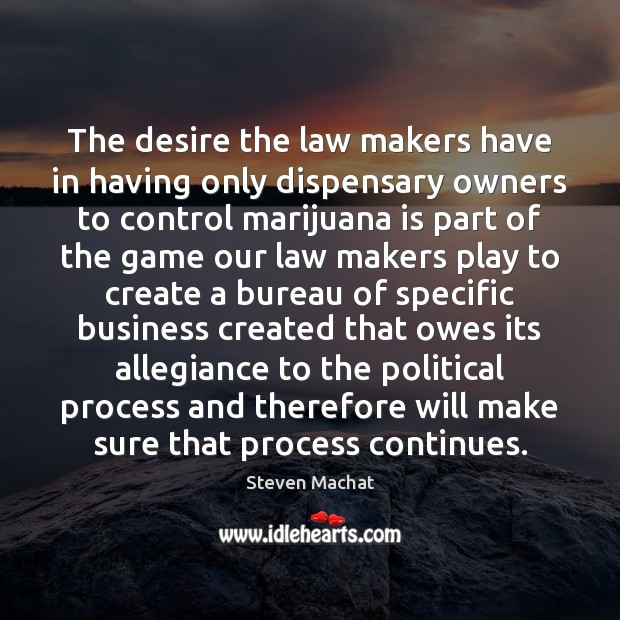 The desire the law makers have in having only dispensary owners to Image