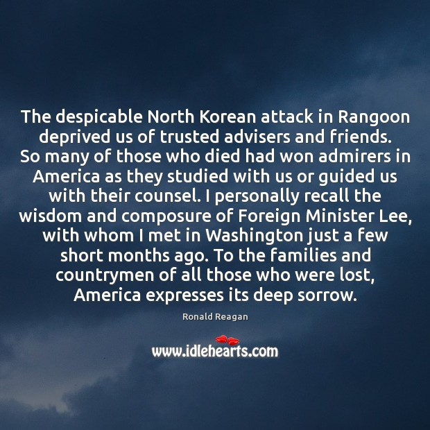 Image, The despicable North Korean attack in Rangoon deprived us of trusted advisers