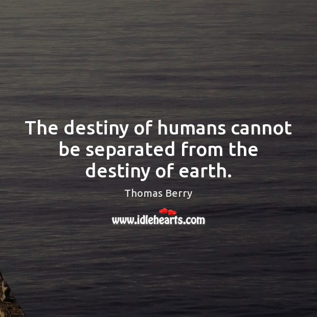 The destiny of humans cannot be separated from the destiny of earth. Image