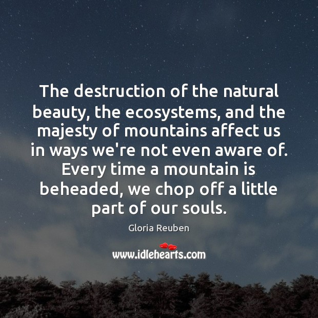 Image, The destruction of the natural beauty, the ecosystems, and the majesty of