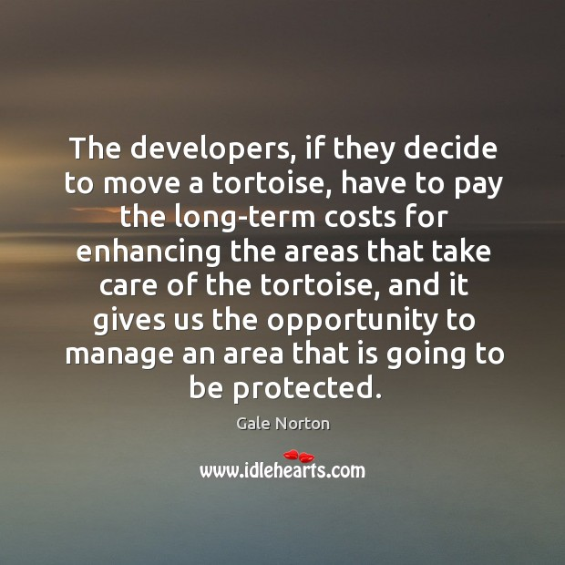 The developers, if they decide to move a tortoise, have to pay the long-term costs Gale Norton Picture Quote