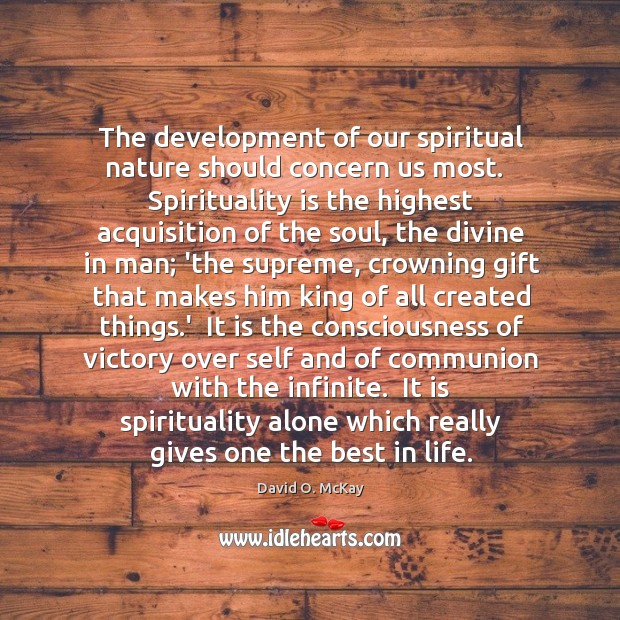 The development of our spiritual nature should concern us most.   Spirituality is Image