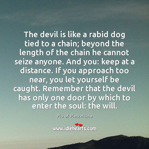 The devil is like a rabid dog tied to a chain; beyond Pio of Pietrelcina Picture Quote