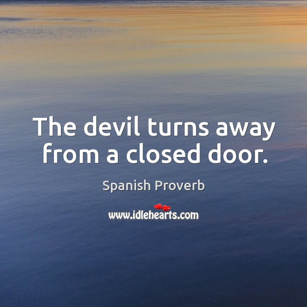 Image, The devil turns away from a closed door.