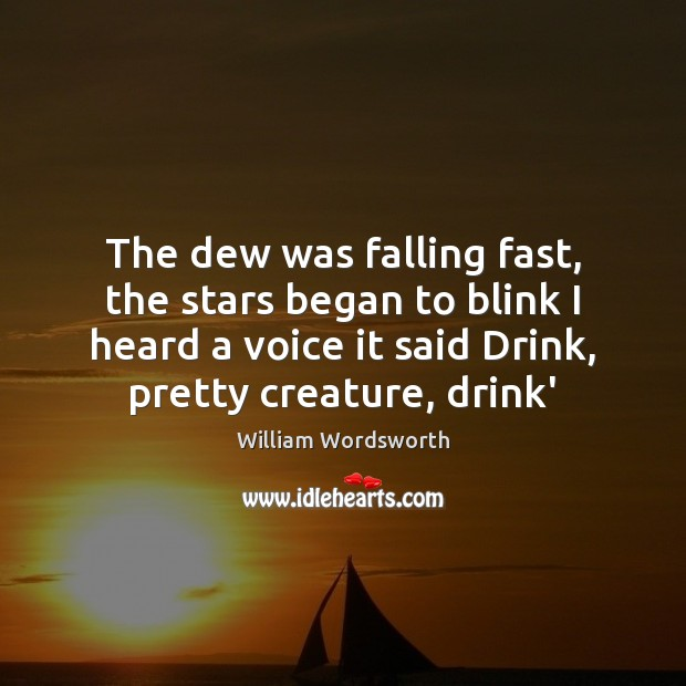 The dew was falling fast, the stars began to blink I heard William Wordsworth Picture Quote