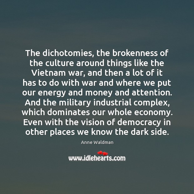The dichotomies, the brokenness of the culture around things like the Vietnam Anne Waldman Picture Quote