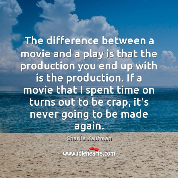 Image, The difference between a movie and a play is that the production