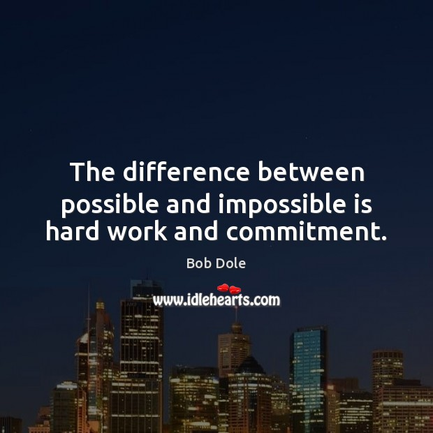 The difference between possible and impossible is hard work and commitment. Image
