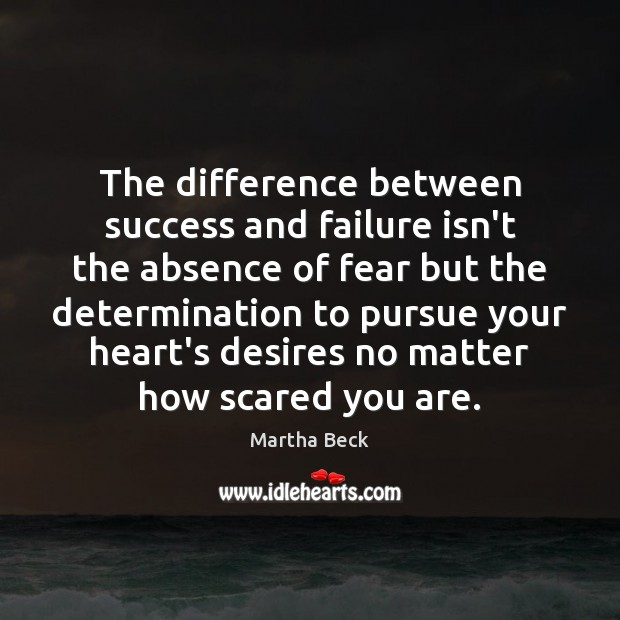 Image, The difference between success and failure isn't the absence of fear but