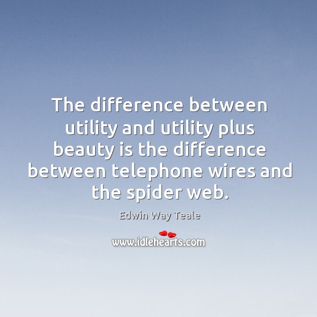 The difference between utility and utility plus beauty is the difference between telephone Edwin Way Teale Picture Quote