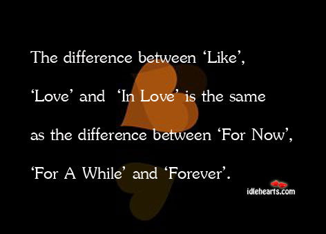 Image, The difference between 'like', 'love' and 'in love' is the same as