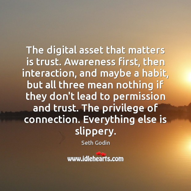 The digital asset that matters is trust. Awareness first, then interaction, and Seth Godin Picture Quote