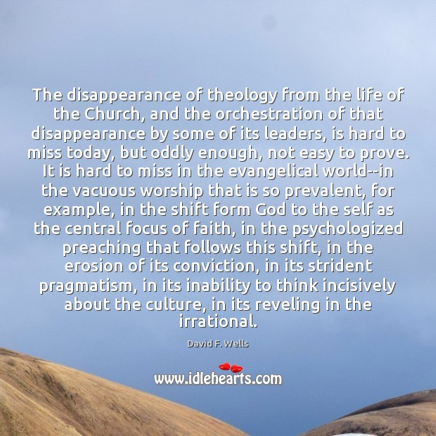 The disappearance of theology from the life of the Church, and the David F. Wells Picture Quote