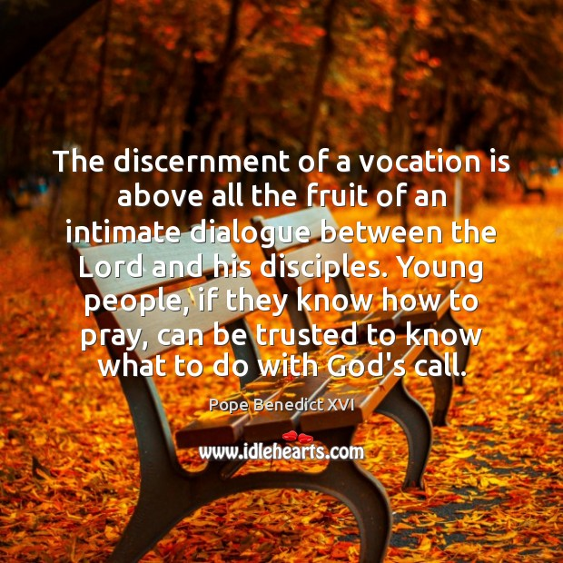 The discernment of a vocation is above all the fruit of an Pope Benedict XVI Picture Quote