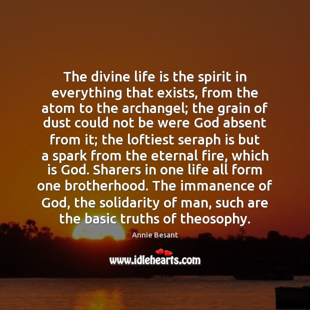 The divine life is the spirit in everything that exists, from the Image