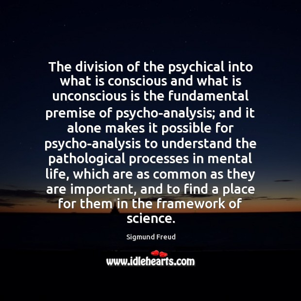 The division of the psychical into what is conscious and what is Image